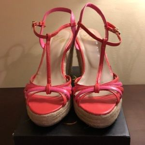 Shoes - Coral T-Strap Wedge